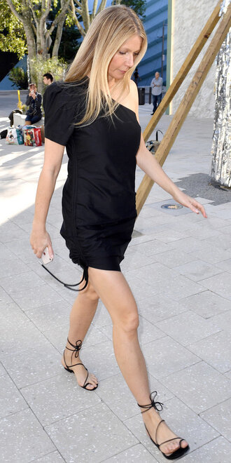 dress black dress one shoulder gwyneth paltrow sandals mini dress