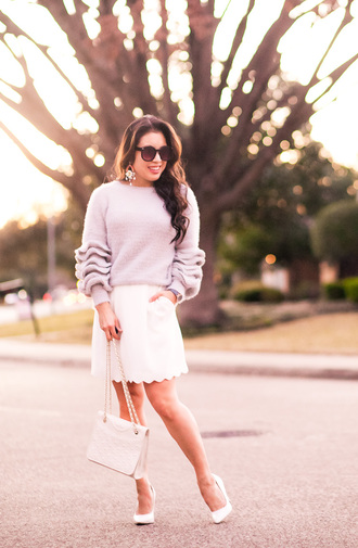 cute & little blogger top sweater skirt shoes bag ruffle sweater mini skirt white skirt pumps white heels
