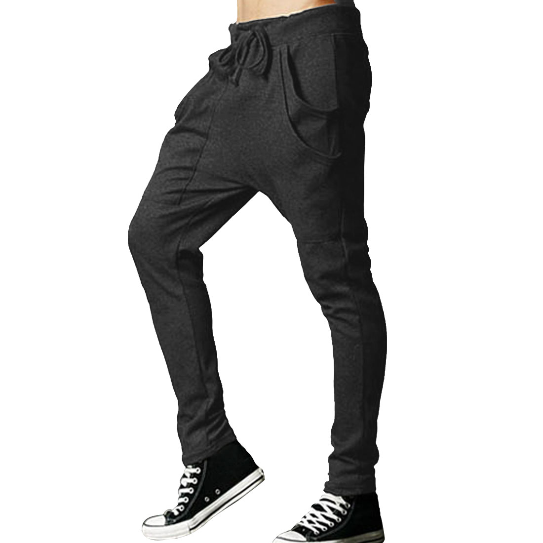 News Men Drawstring Elastic Waist Casual Stretchy Harem Pants | eBay