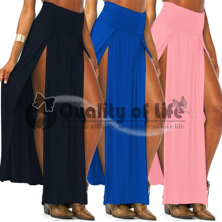New Popular Trends High Waisted Double Slits Sexy Women Maxi Skirt Colorfu hitt | eBay