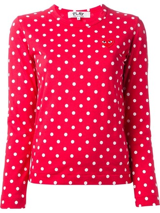 t-shirt shirt heart embroidered red top