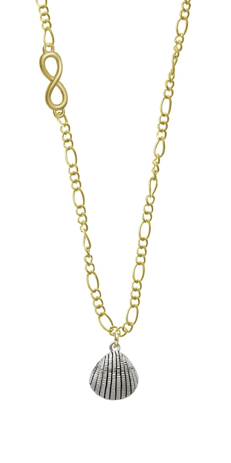 Amazon.com: Antiqued Clam Shell Gold Infinity Figaro Necklace: Jewelry