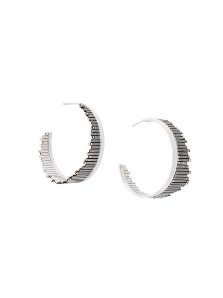 Charlotte Valkeniers flare women earrings hoop earrings silver grey metallic jewels