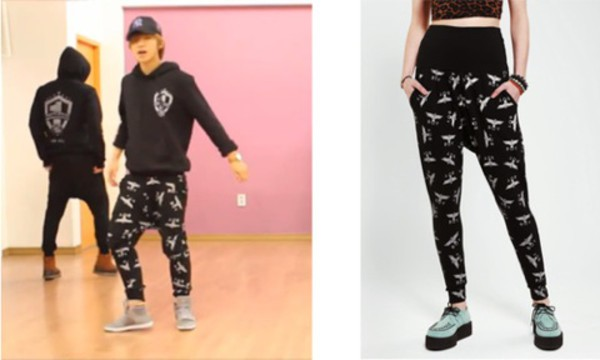 pants kpop harem pants black white