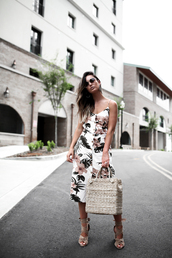 dress,floral,midi dress,floral dress,bag,shoes,sandals