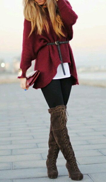 shoes knee high boots dark brown