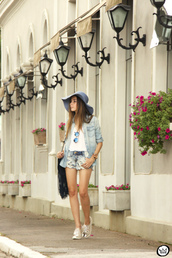 fashion coolture,blogger,denim shirt,denim shorts,floppy hat,silver shoes,shorts,shirt,sunglasses,bag,shoes