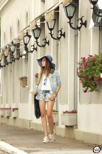 fashion coolture blogger denim shirt denim shorts floppy hat silver shoes shorts shirt sunglasses bag shoes