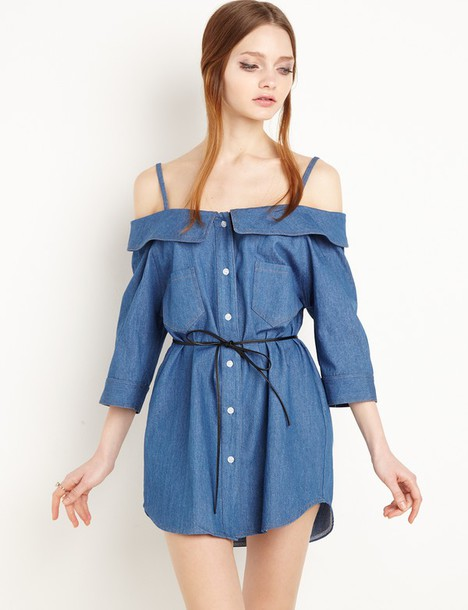 58a1e9b635 dress lula denim chambray off the shoulder dress denim dress cute dress  girly dress chambray off