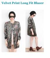 jacket,velvet print blazer,colorful