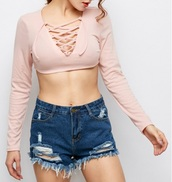 blouse,girly,girl,girly wishlist,pink,crop tops,crop,cropped,long sleeves,lace up,lace up top