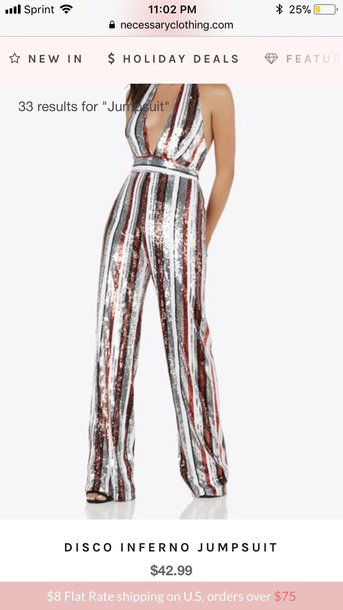 jumpsuit red white black