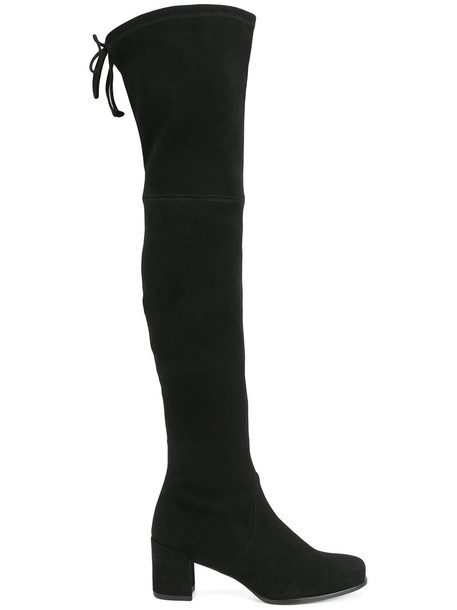 STUART WEITZMAN high women thigh high boots leather suede black shoes