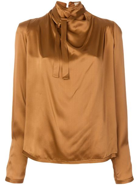 Maison Flaneur blouse women spandex silk brown top