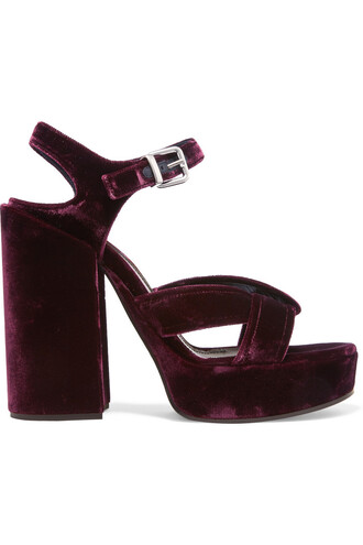sandals platform sandals velvet burgundy plum shoes