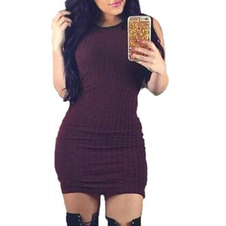 dress sexy purple knitwear hot trendy stylish women's sleeveless jewel neck bodycon dress stylish party clothes