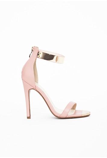 Sandales à brides avec plaques métalliques dorées kim nude