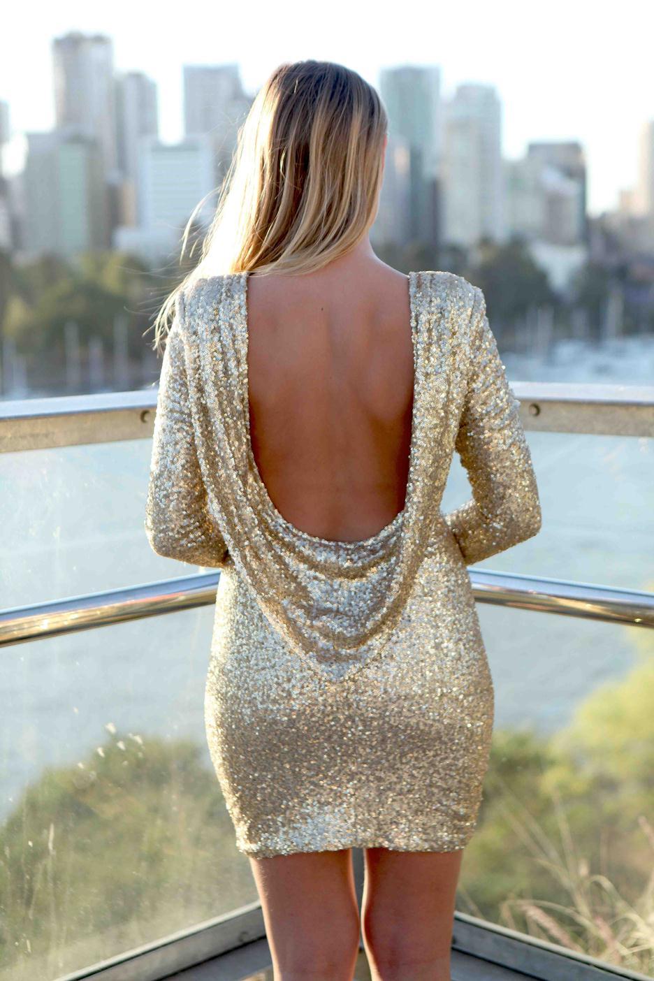 Gold sequin long sleeve deep