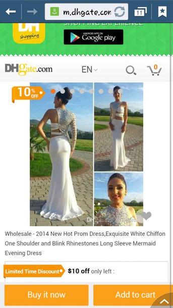 dress white dress rhinestones dress one shoulder dress prom dress white prom dress