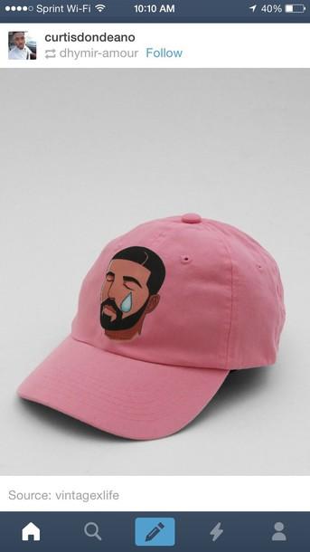 47411293534c5 hat pink baseball cap drake urban pastel pink pink hat hotline bling tear  emoji print emoji