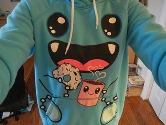 donut sweater blue monster coffee cute sweaters