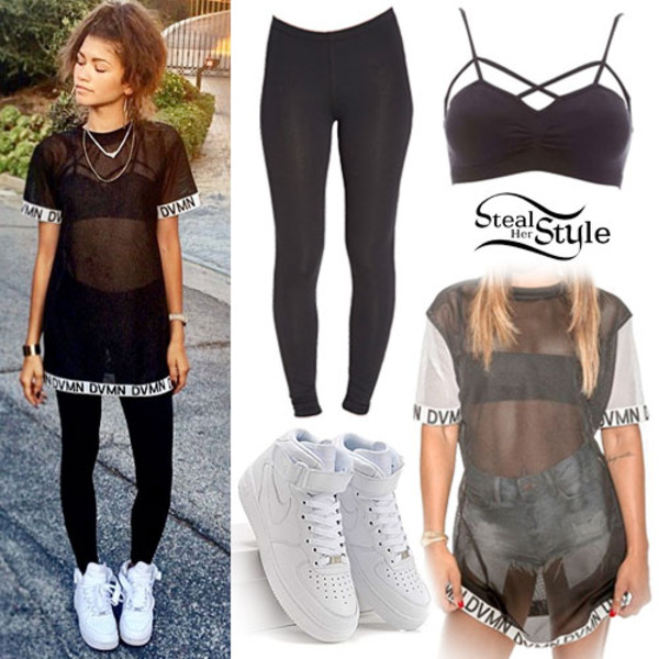 blouse leggings black and white zendaya shoes t-shirt black t-shirt zendaya shirt dress