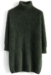 sweater,fluffy chic turtle neck sweater in olive,olive green,fluffy,chicwish