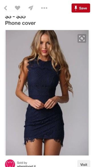 dress navy blue lace dress
