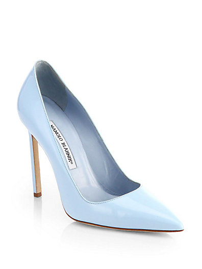 Manolo Blahnik - BB Patent Leather Point-Toe Pumps - Saks.com