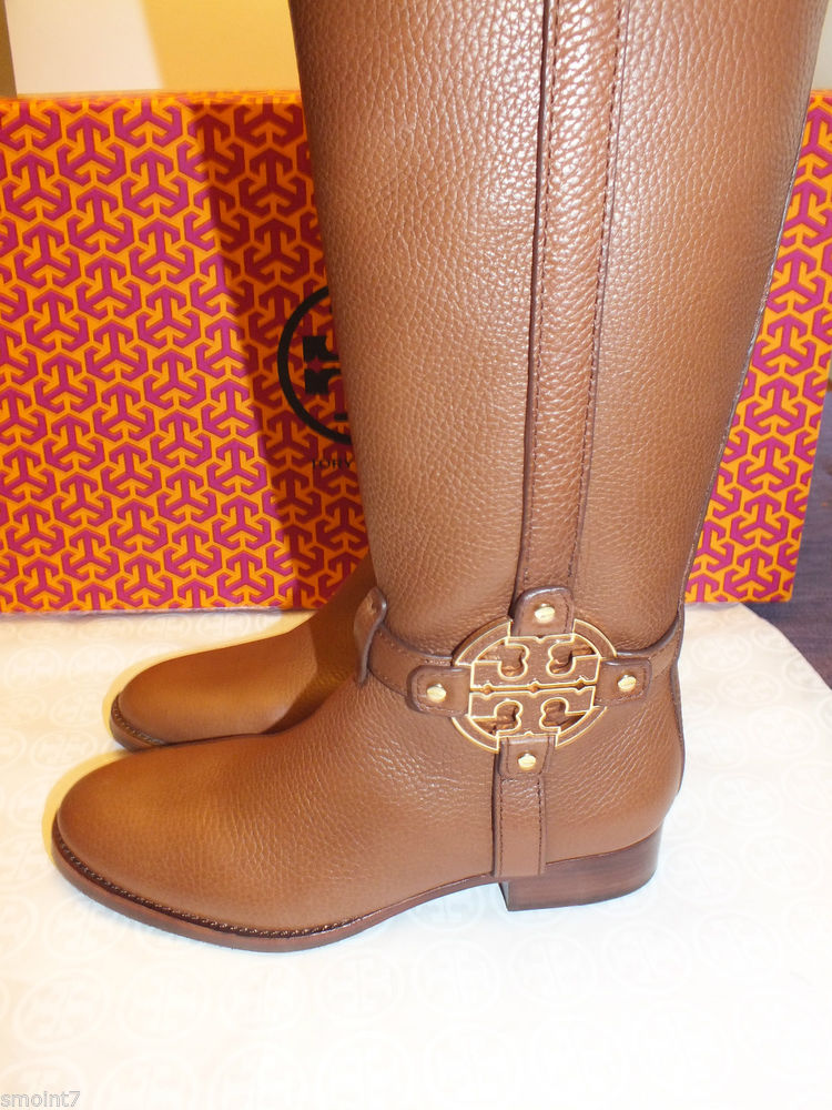 Tory Burch Amanda Riding Boot Tumbled Lthr Sz 7 Almond 100 Authentic | eBay
