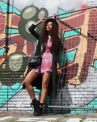 from hats to heels blogger pattern two-piece duster coat printed shorts