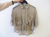 grey blouse,blouse,shirt,button up,crop tops,short sleeve,chiffon,chiffon blouse,button up blouse