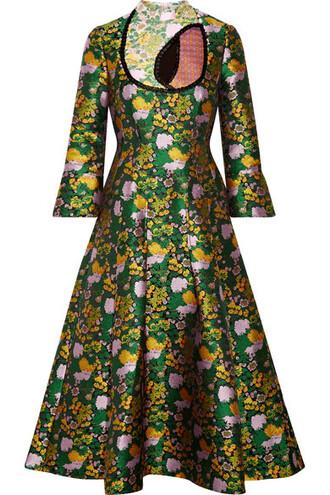 dress midi dress pleated midi jacquard green