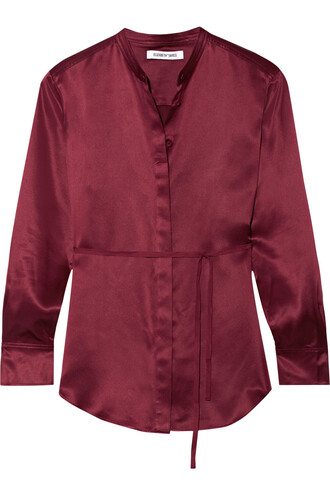 shirt silk satin burgundy top