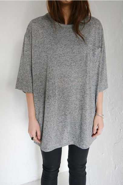 t-shirt oversized grey long t-shirt grunge hipster vintage