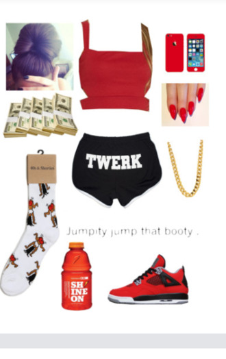 where to get red top where to get twerk shorts where to get these socks where to get these shoes