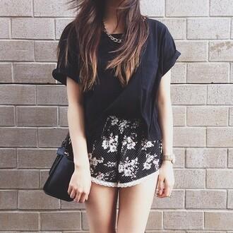 shorts short shorts flowered shorts lace shorts pom pom shorts black shorts soft shorts