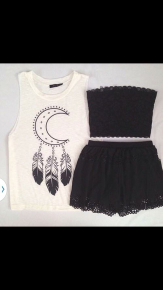 feathers moon blouse