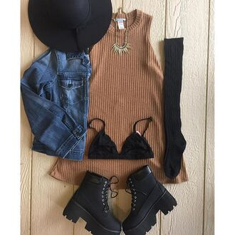 dress divergence clothing grunge tshirt dress floppy hat denim jacket fall outfits t-shirt tumblr girl bralette black lace bra black chunky boots chunky boots grunge t-shirt t-shirt dress brimmed hat