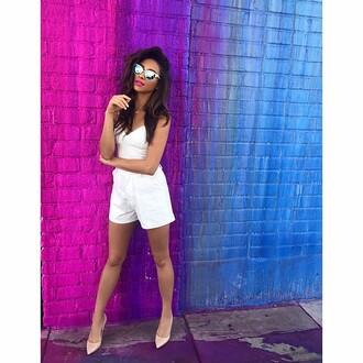 romper sunglasses shay mitchell instagram pumps white