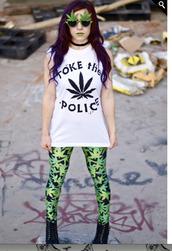 pants,weed,t-shirt,sunglasses,shirt