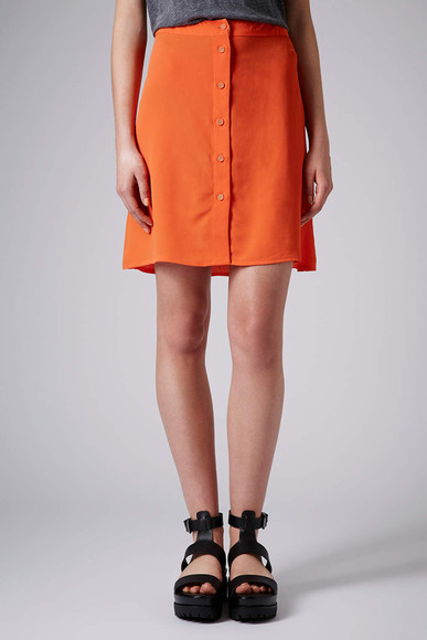 skirt mini skirt orange orange button through mini skirt