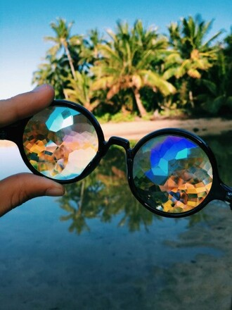 sunglasses black rainbow summer weird eye tumblr cool hipster