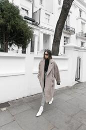 modern legacy,blogger,coat,sweater,pants,bag,shoes,ankle boots,white boots,grey coat,black sweater,turtleneck sweater