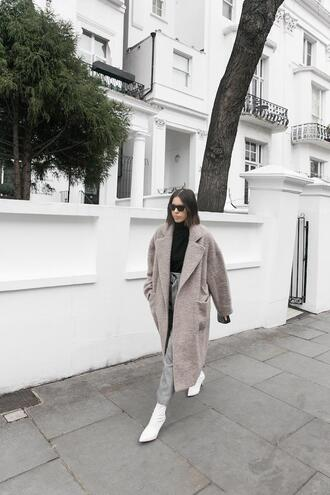 modern legacy blogger coat sweater pants bag shoes ankle boots white boots grey coat black sweater turtleneck sweater