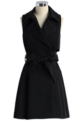 coat,belted sleeveless trench coat in black,chicwish,belted,sleeveless,trench coat