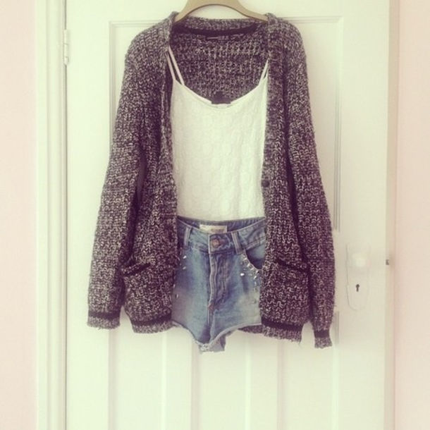 White Sweater Shorts Top Shorts Grey White Knit