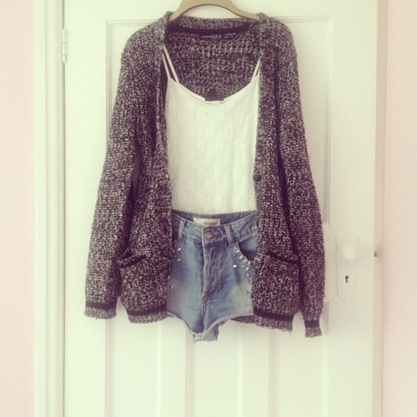 sweater fashion cardigan tank top shorts grey white knit jacket blogger clothes outfit shirt grey sweater knitted sweater oversized cardigan white tank top studded shorts knitted cardigan knitwear grey cardigan black grey knitted black cute long sleeves cardigans