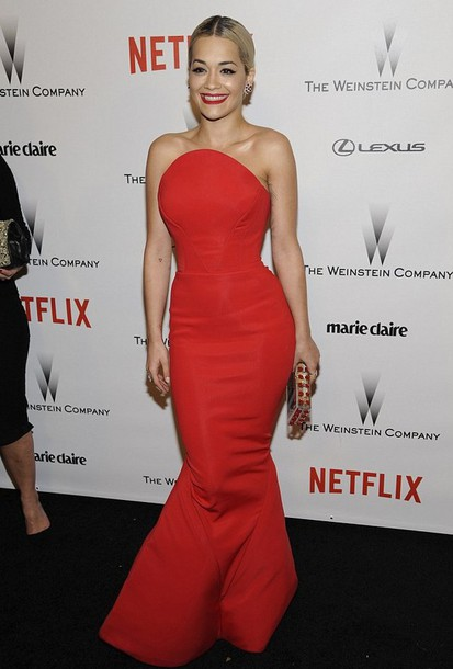 golden globes 2015 after party rita ora red dress zac posen