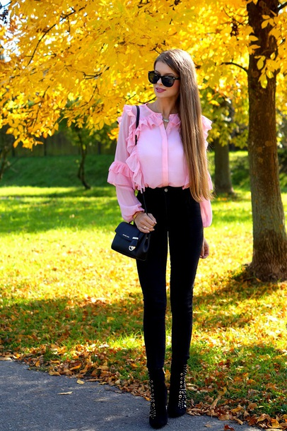 only my fashion style blogger blouse jeans shoes bag pink blouse black jeans boots shoulder bag fall outfits